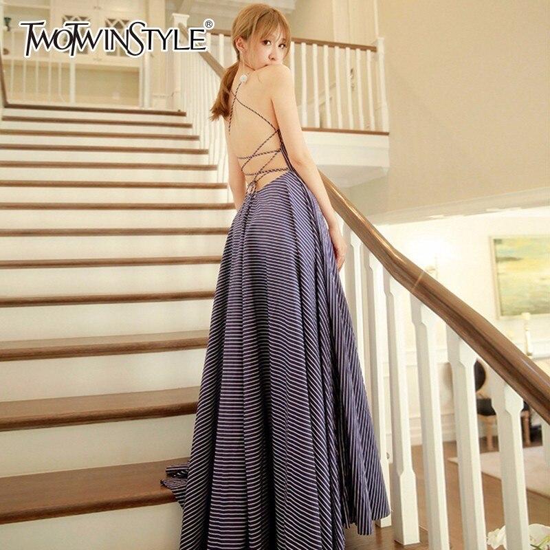 64c28417284 Blue Vêtements Maxi Mode Rayé Ligne Robes Nu Parti Sexy Haute Élégante Dress  Une Taille Femmes Robe D été ...
