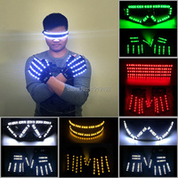 Nightclub Set LED Party Glasses+LED Gloves Light Up Rave Christmas Wedding Party Decoration Birthday Glow Party Supplies