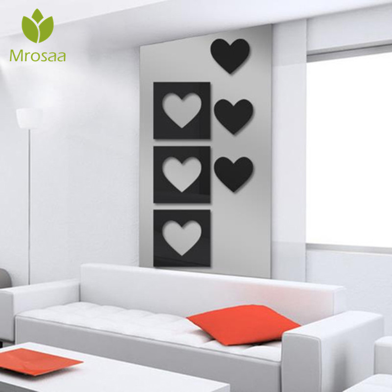 3D Square Heart Film DIY Mirror Wall Stickers Home Wall ...