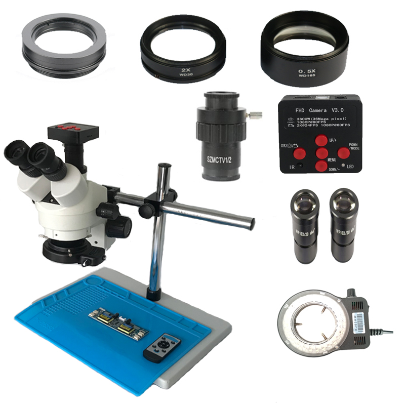 Dual arm single stand 3 5X 90X Simul Focal Trinocular stereo microscope 36MP HDMI Electronic PCB