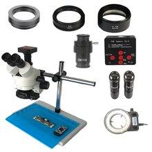 Double bras simple support 3.5X-90X Simul Focal trinoculaire stéréo microscope 36MP HDMI électronique PCB microscope caméra Led lumières