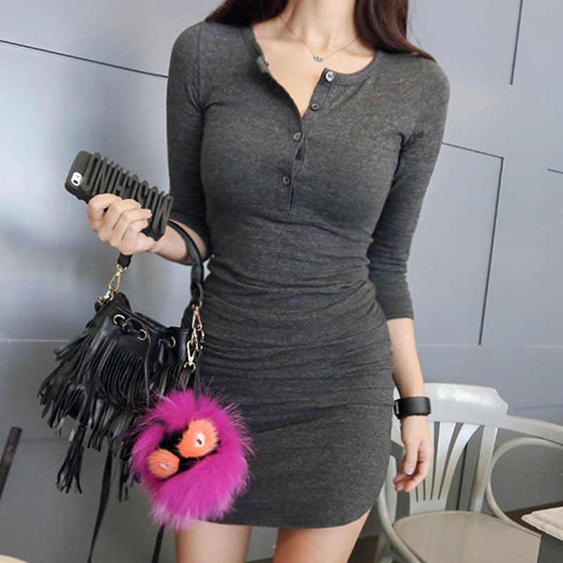 BOBOKATEER вечернее платье с длинными рукавами женская сексуальная одежда халат femme ete 2019 повседневное Хлопковое платье миди с v-образным вырезом Тонкий vestidos mujer