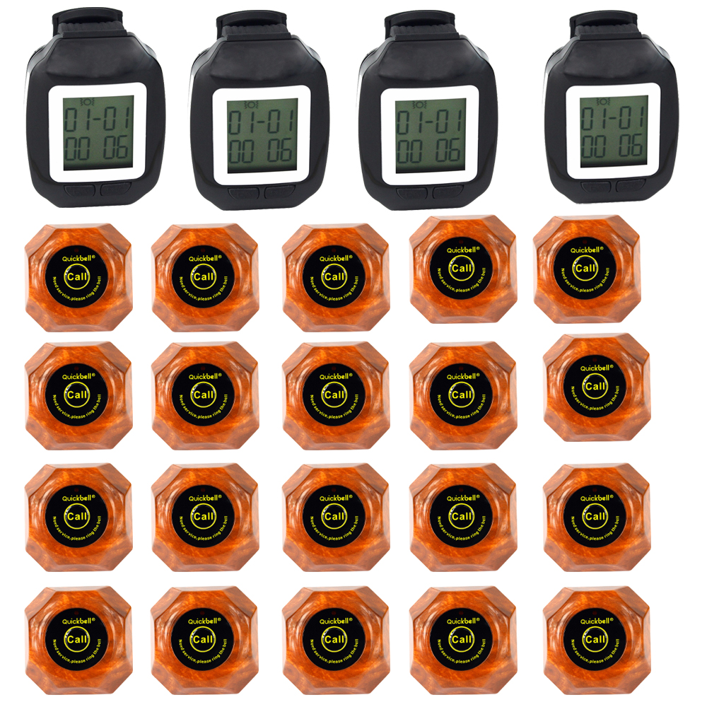 QuickBell Wireless Restaurant Pager Calling System 4 Watch Guest 20pcs Wood Color Guest Waiting Pager Waterproof 1500M F3118 dtmf pager system
