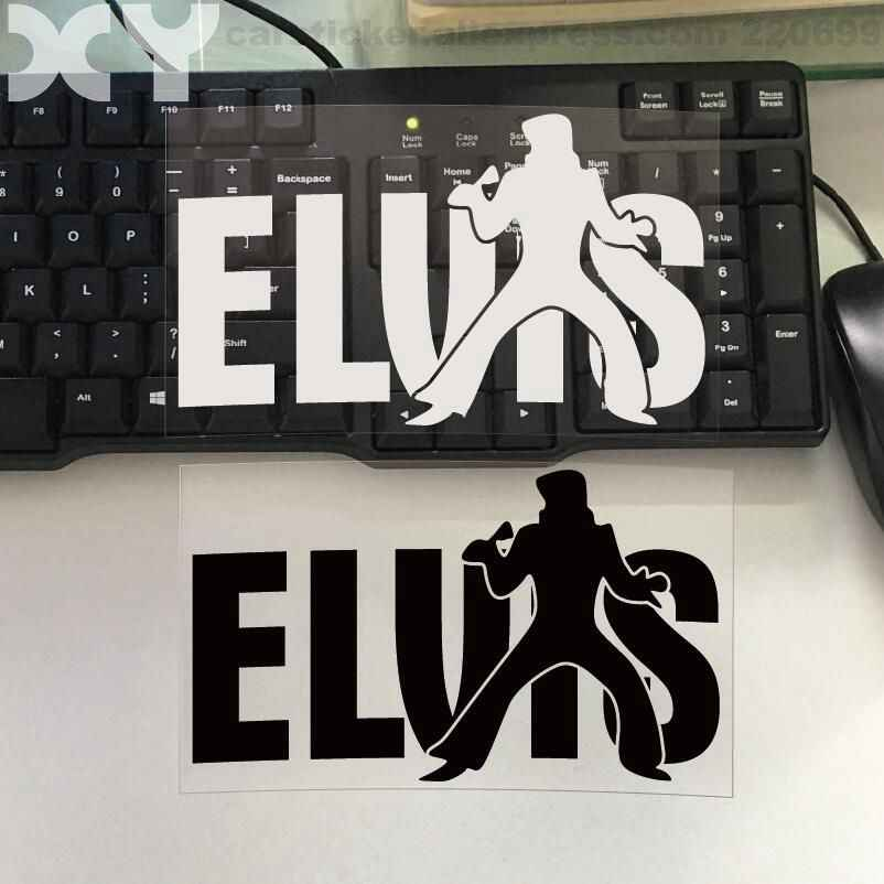 "Elvis with Mic Decal Truck Bumper Window Car Stickers Truck Vinyl Decal (black / Silver White) 6.6"" * 4"" Drop Ship"