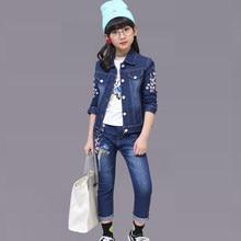 856435cbf Otoño mezclilla niños ropa bordado Floral chaqueta + Jeans traje de moda  para niñas primavera chicas adolescentes ropa 6 8 12 añ.