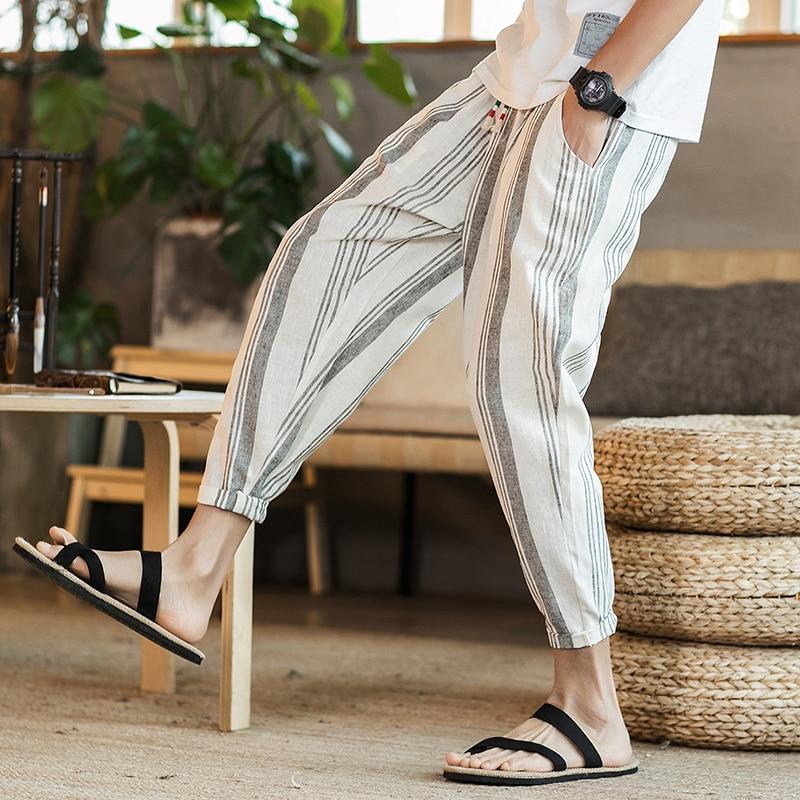 2018 New Arrival Striped Men Pants Cotton Linen Casual Pants Man Ankle Length Summer Male Trousers Fashion Harem Pants For Men