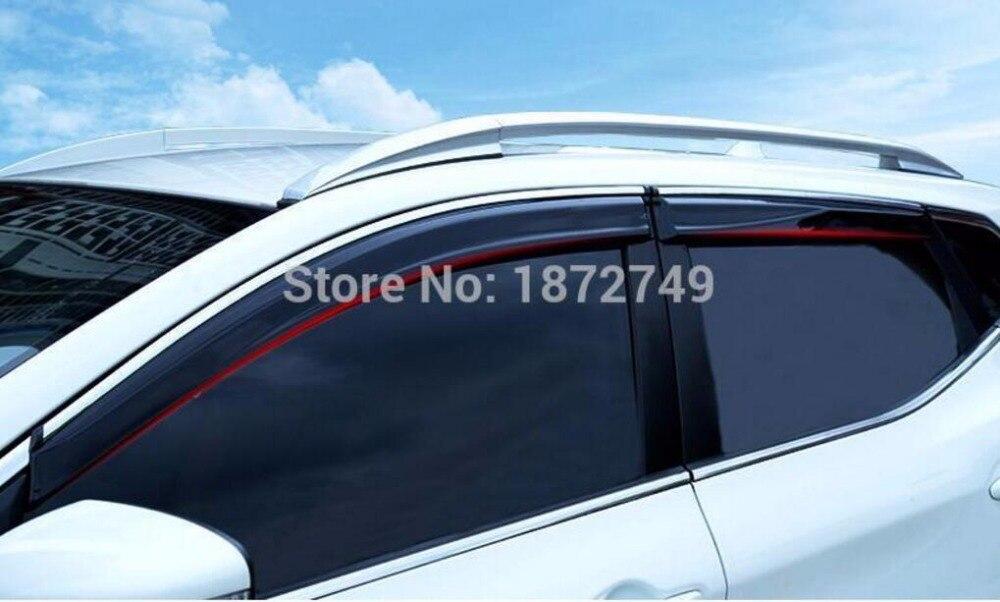 Pour NISSAN QASHQAI J11 2015 2016 voiture fenêtre visière Vent ombre pluie/soleil/Vent garde garniture extérieur pièces de voiture 4 pcs avec logo