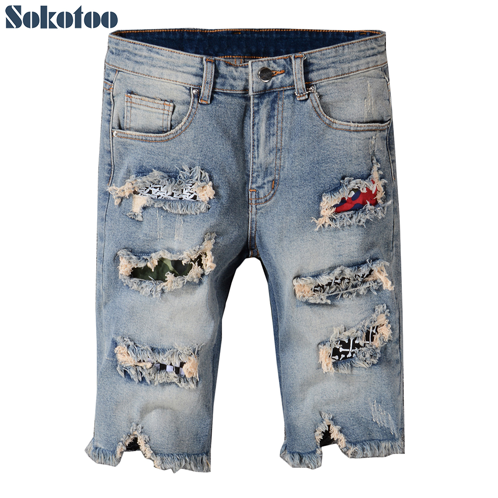 Sokotoo Mens fashion patchwork ripped finge shorts for summer Patch slim straight stretch denim jeans