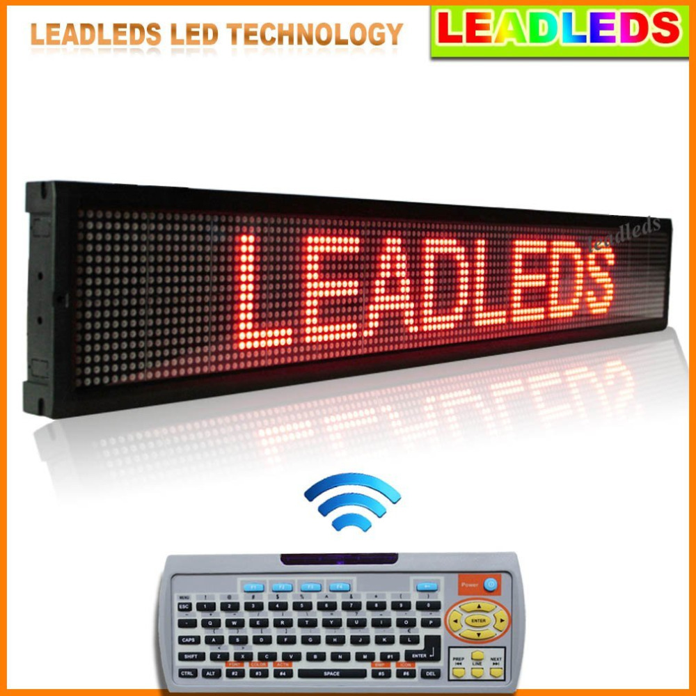 40x6.3 Inches Remote Control LED Sign With Red Color, Programmable And Scrolling Message - Multi-languages Red Message