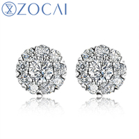 ZOCAI FLOWER NATURAL 0.48 CT CERTIFIED H / SI DIAMOND EARRINGS JEWELRY EARRING EAR STUDS ROUND CUT 18K WHITE GOLD E00276