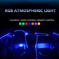 RGB EL Neon Wire Strip Light 6 In 1 Car Interior LED APP Control +Remote control Atmosphere Decoration Light cold light
