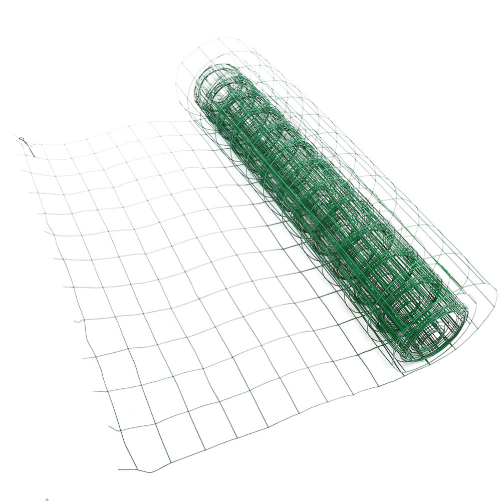 10.2M Length Garden Fence PVC Coated Metal Wire Fencing Green Mesh Fence  For Garden Lawn Edging