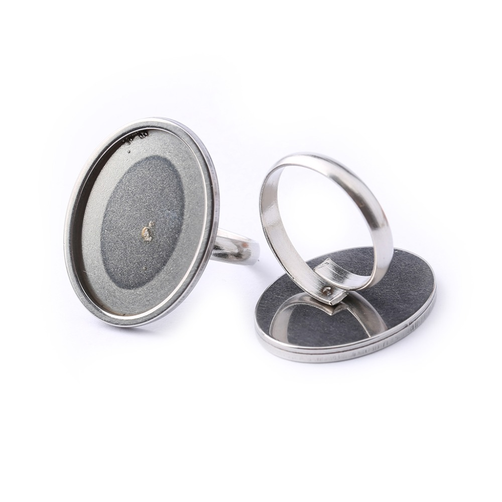 Reidgaller 5pcs Oval Cabochon Ring Base 18x25mm Stainless