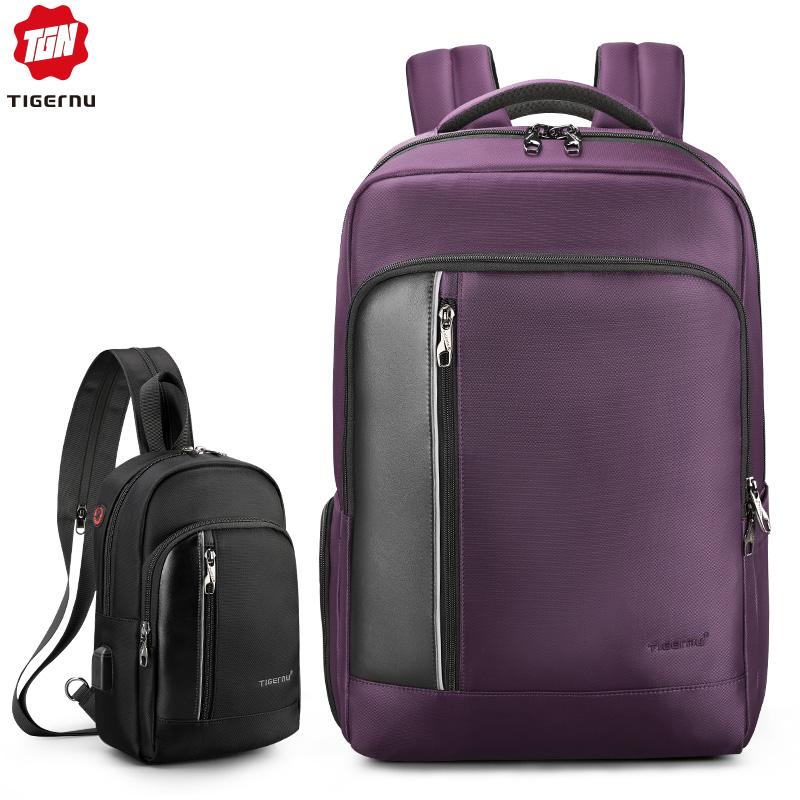 Tigernu Bag Set Water Resistant Backpack Men with USB Charging Headphone Crossbody Bags for Women 2019