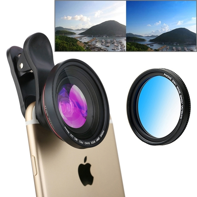 3 in 1 Universal Phone Wide Angle Lens Cam Gradual Blue Filter Lens For Lenovo iPhone 6S Samsung Galaxy Xiaomi Huawei LG