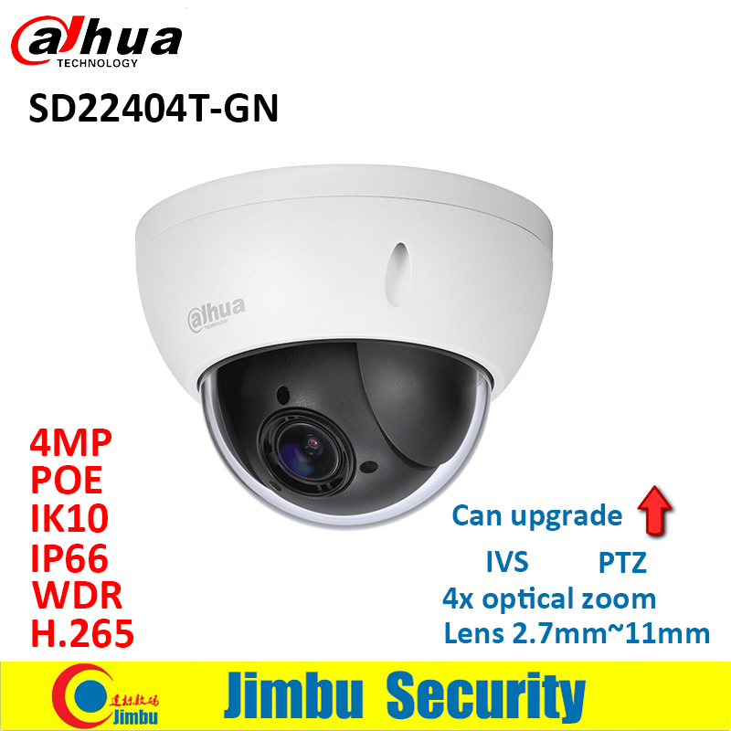 Dahua PTZ 4MP IP camera SD22404T-GN 4x optical zoom lens2.7mm~11mm CCTV H.265 WDR security camera Support IVS PoE IP66 IK10 dahua 4mp ptz camera sd59430u hni h 265 30x optical zoom 4 5mm 135mm lens auto tracking and ivs support poe ir100m ip66 wdr