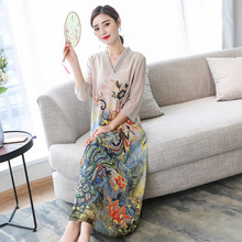 New 2019 spring Floral Print Casual Loose V Neck Lady Vestidos Big Size S-4XL Women Silk Chiffon Retro Dresses RE2121
