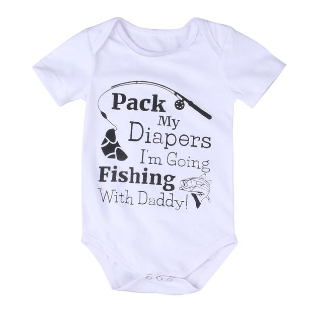 80ecc537b Cotton Newborn Baby Girl Boy Bodysuit Short Sleeve Fishing Letter Print  Playsuit Jumpsuit Outfits Kids Sunsuit