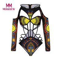 MUQGEW One Piece Swimsuit Swimwear Women 2018 Push Up Bathing Suit African Print Monokini Bodysuit Bandage