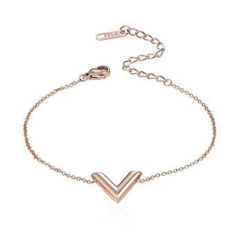 New Arrival Fashion 3 Colors Stereoscopic V Charm Bracelet For Woman Titanium steel Luxury Brands Jewelry Gift Pulseira Feminina