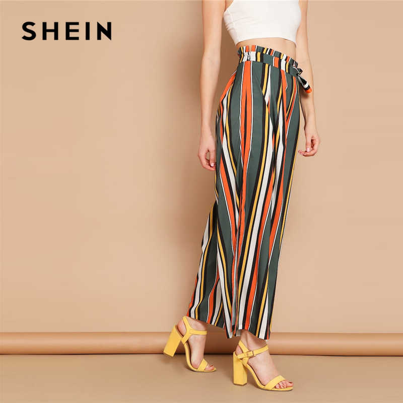dbb490f4f6 ... SHEIN Boho Multicolor Self Belted Split Side Colorful Striped Palazzo Pants  Trousers Women High Waist Long ...