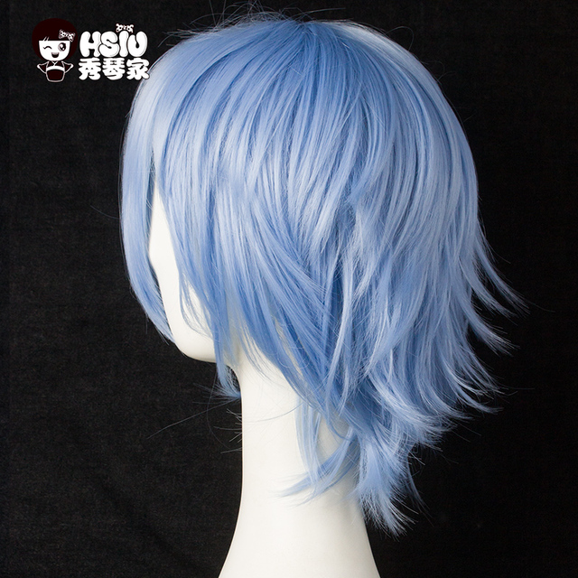 HSIU 30cm short Wig Black white purple blue red  high temperature fiber Synthetic Wigs Costume Party Cosplay Wig  multi 17color 3