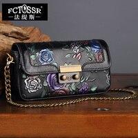 Handmade Genuine Leather Women Bag Hand Painted Shoulder Bag Envelope Women Messenger Crossbody Bag Chinese Style