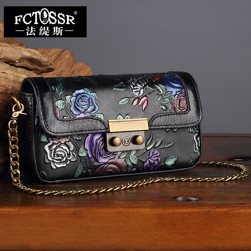 Handmade Genuine Leather Shoulder Bag Painted Flower Women Sling Bag Envelope Messenger Ladies Bag Fashion Metal Chain Clutch new punk fashion metal tassel pu leather folding envelope bag clutch bag ladies shoulder bag purse crossbody messenger bag