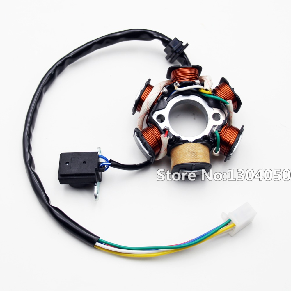6 Coil Pole Magneto Flywheel Stator Gy6 125cc 150cc Pit Quad Dirt Pin Cdi Wiring Harness Connector Wire Loom Motorcycle Scooter Bike Atv Buggy