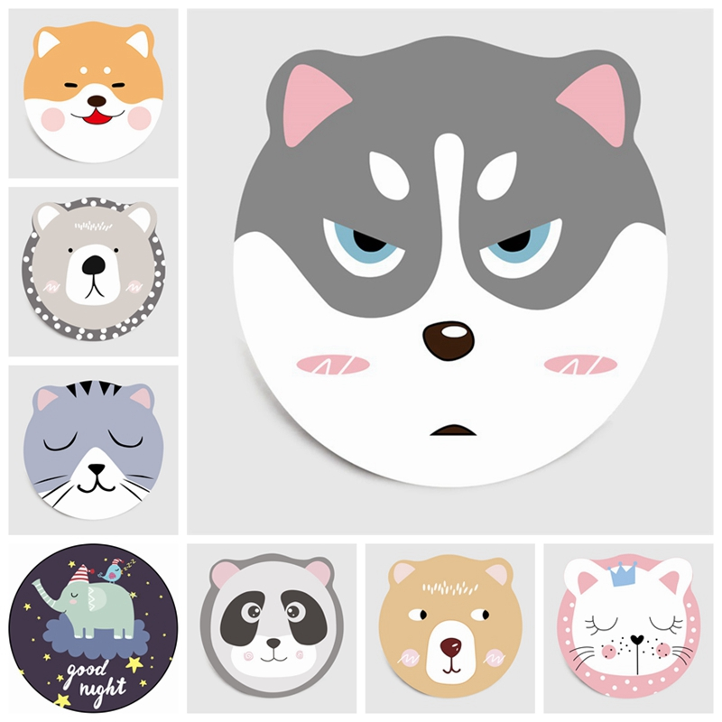 Lovely Cartoon Animals Round Carpet Children Climbing Non-Slip Rug Floor Mat Living Room Bedroom Kids Room Play Pad Area Rugs