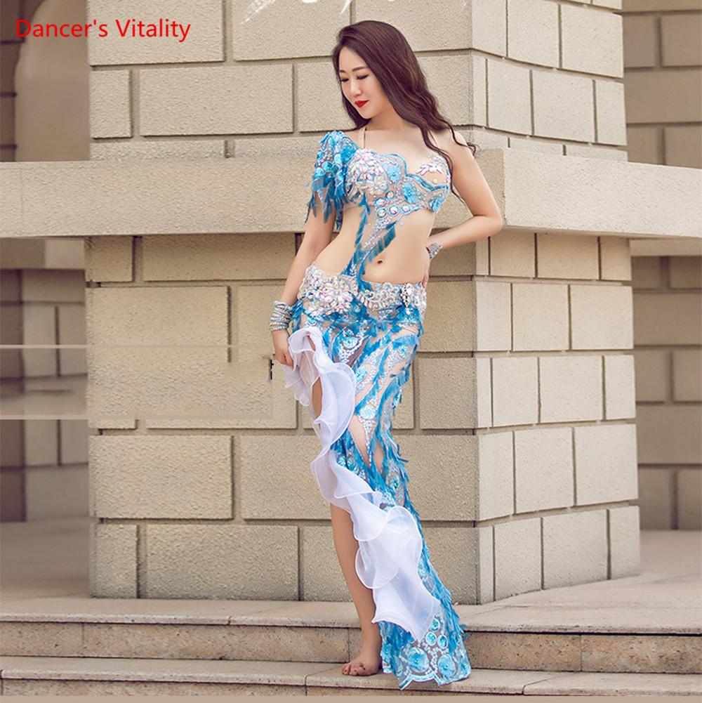 New Sexy Luxury Bra Set Belly Dance Costume Long Skirt Bling Bling Shine Performance Dress Dancing Unifom