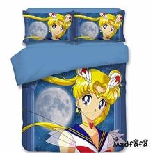 Mxdfafa Anime Sailor Moon Bed Set 3D  bedding set luxury Duvet Cover Set 3pc set Include 1 Duvet Cover and 2 dakimakura covers cover set 3d