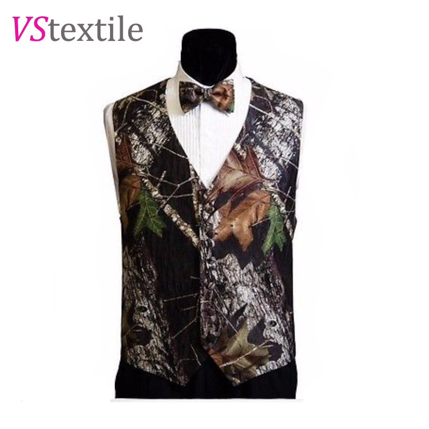 Aliexpress Buy Man Tuxedo Vests White Camouflage Wedding Groom Wear Men Camo Formal Vest Bow Tie Plus Size Custom Make Free Shipping From Reliable