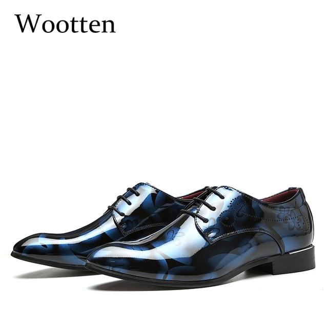 大人男性ドレスシューズプラスサイズのパテントレザーデザイナーの高級クラシックビジネスウェディングオフィスエレガントなフォーマルな靴男性 # A11