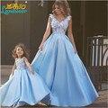 2016 новый прекрасный матери-дочери пром платья атласная голубой цветы V шеи платье выпускного вечера пол-длины элегантный Evenging платье