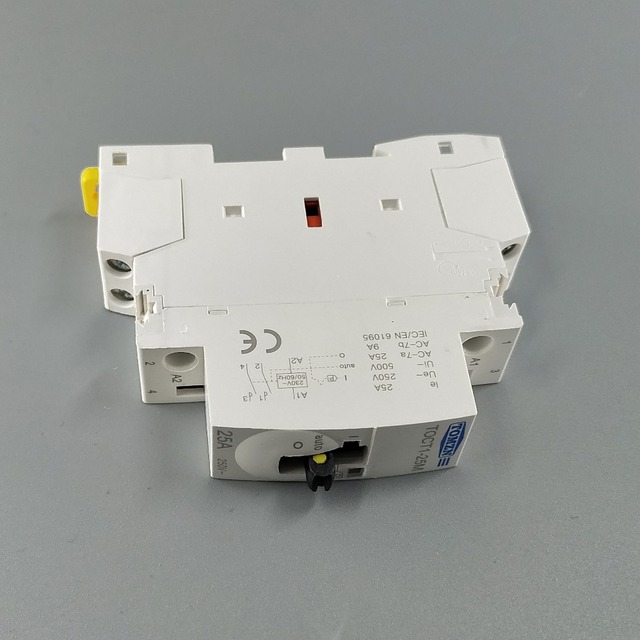 TOCT1 2P 25A 220V/230V 50/60HZ Din rail Household ac Modular contactor with Manual Control Switch 2NO or 1NO 1NC or 2NC