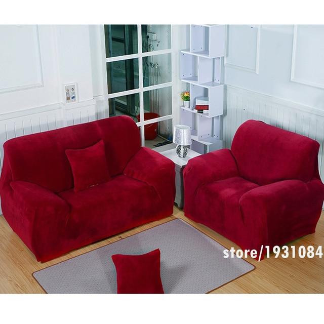 Wine Red Sofa Cover Plus Velvet Fabric Elastic Slipcover Slip Resistant  Couch Cover Thicken