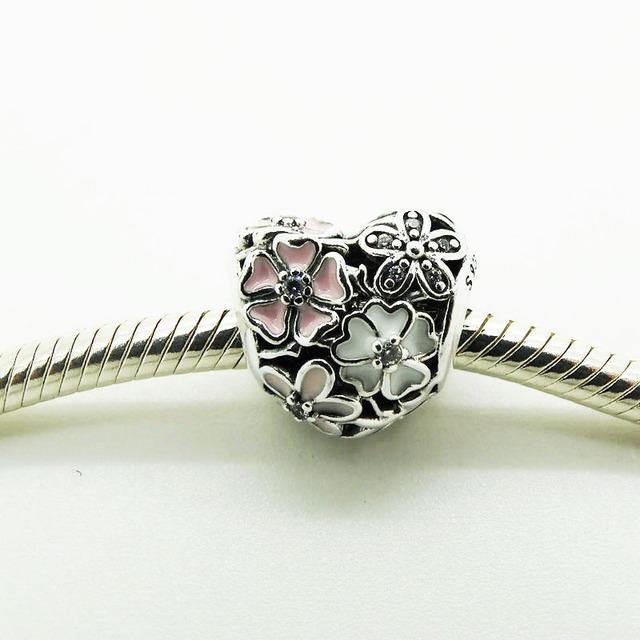 Poéticas flores grânulos de coração primavera bijuterias diy para a jóia fazendo fit pandora encantos de prata 925 pulseiras mulheres presentes originais