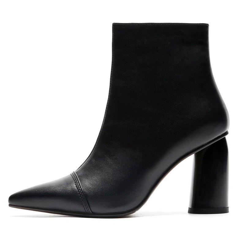 جلد البقر عالية الكعب حذاء من الجلد النساء الخريف سيدة سستة حقيقية أحذية من الجلد A229 امرأة الأسود البيج وأشار اصبع القدم الكعوب الأحذية-في أحذية الكاحل من أحذية على  مجموعة 2