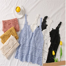 2019 Summer New Women Sweet Sexy Off Shoulder Crochet Knit Lace Hollowed Out Basic Vest Short Style Top Blouses Solid Lady