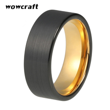 Tungsten Ring 8mm for Men Women Black Brushed Finish Gold Inside Wedding Bands Ring цены онлайн