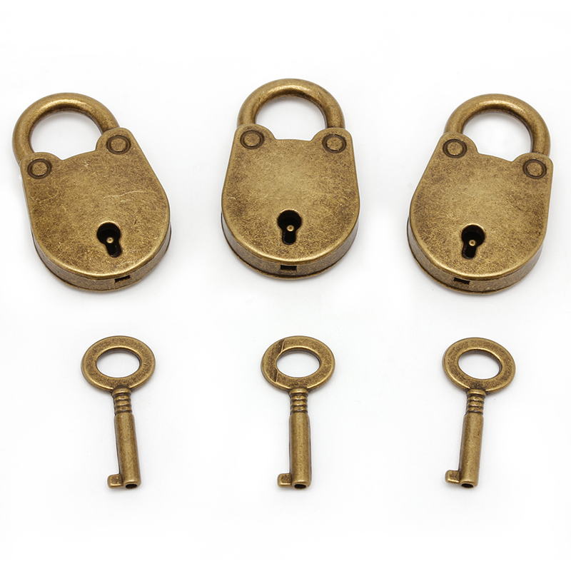 Y122 Old Vintage Antique Style Mini Archaize Padlocks Key Lock