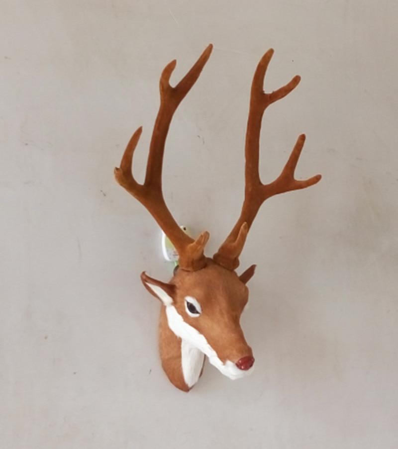Deer head medium simulation Hanging handmade leather porch home - Home Decor