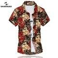 Мужская Гавайских цветочные рубашка 2017 летняя мода высокого качества роскошный стретч мерсеризованный хлопка с коротким рукавом рубашки bronzing