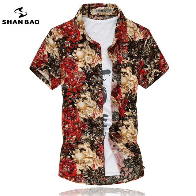 Havaiano camisa floral 2017 verão dos homens moda de luxo de alta qualidade trecho de algodão mercerizado camisa curta-mangas compridas bronzing