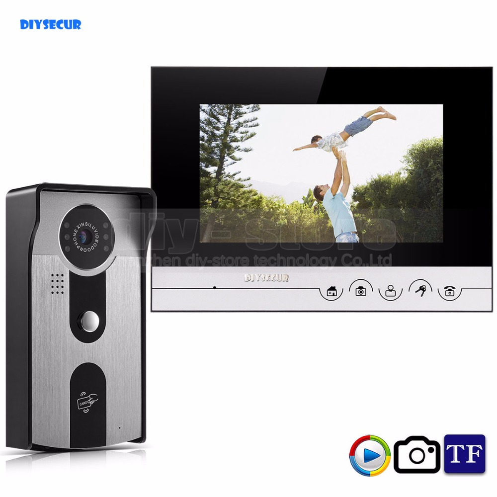 DIYSECUR 7inch Video Record/Photograph Video Door Phone Doorbell Home Security Intercom System RFID Camera IR Night Vision home use 9 inch color tft monitor 8gb sd card video record door phone doorbell intercom system ir camera for apartment security