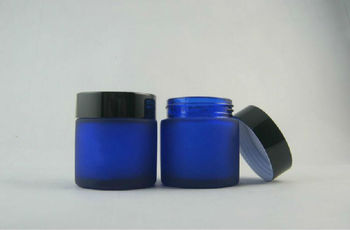 High quality 50g frosted+blue cream jar,cosmetic jar,glass jar or cream container,eye cream jar
