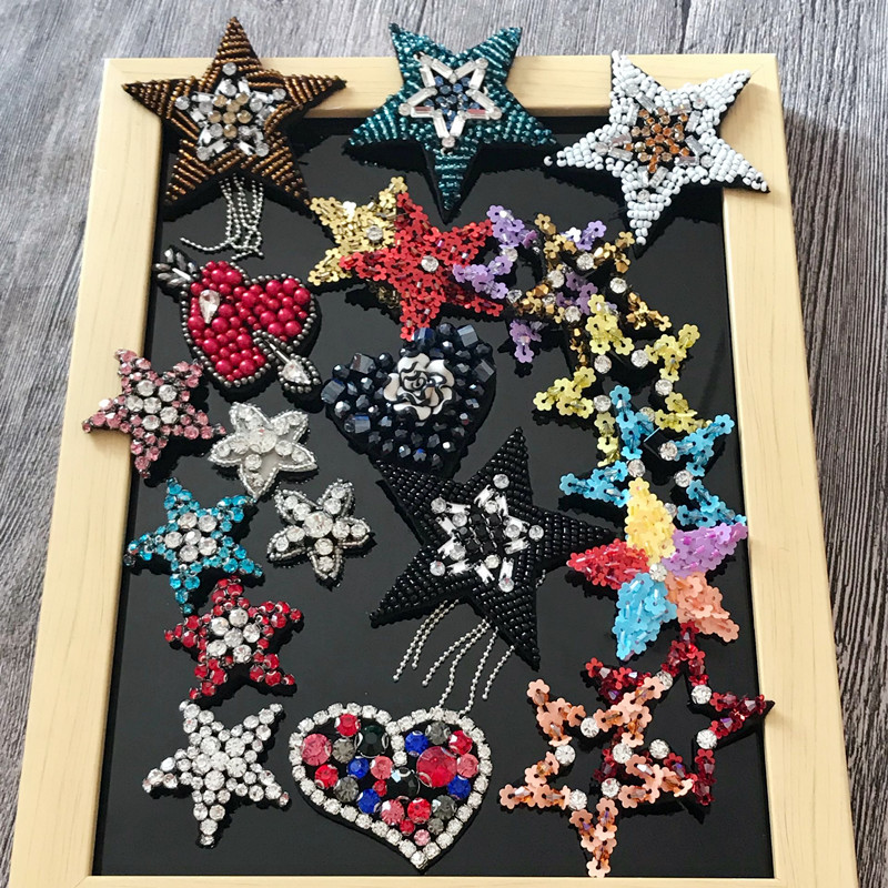 Rational 10 Pcs/lot Handmade Nail Bead Patch Five-pointed Star Patch Diy Accessories Kit Hat Shoes Hair Decoration Patches Applique Dn150 Always Buy Good Arts,crafts & Sewing