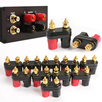 Mayitr 10Pcs Dual 2 Way Speaker Terminals Banana Plug Jack 24k Connector Amplifier Gold Plated Terminal
