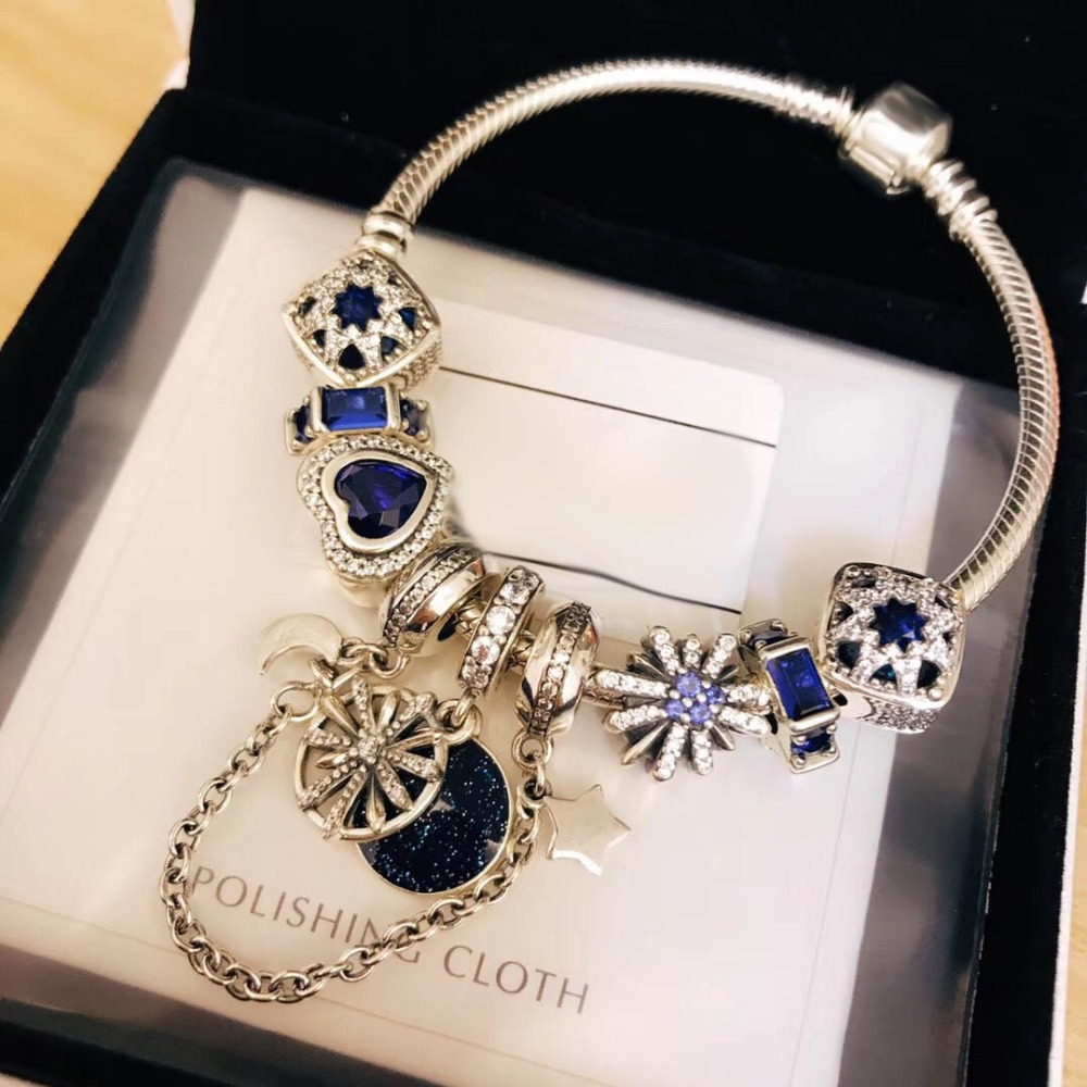 Original 100% 925 Silver Charm 1:1 Version Blue Glamour Elegant Series Copy Jewelry For Women 1:1 With Logo Bracelet Original 100% 925 Silver Charm 1:1 Version Blue Glamour Elegant Series Copy Jewelry For Women 1:1 With Logo Bracelet